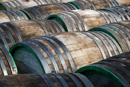 vats: There are many butts lying in the yard of old-fashioned winery