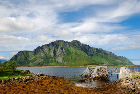 seaweeds: Majestic mountain is towering above blue fjord. It is overgrown with greenery. In the foreground there is seacoast with seaweeds and wood pier ruined. Stock Photo