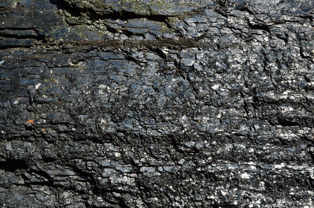 bituminous coal: Large lump of coal is photographed close-up  Black coal surface is cracked and chapped  Stock Photo