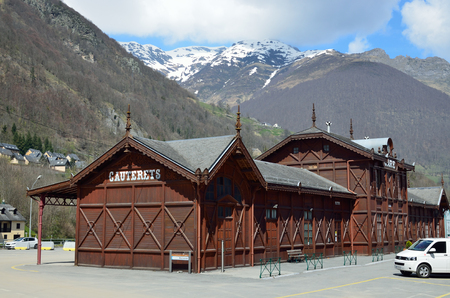 bus station: The rustic wooden bus station in Cauterets resort, Hautes-Pyrenees department in France