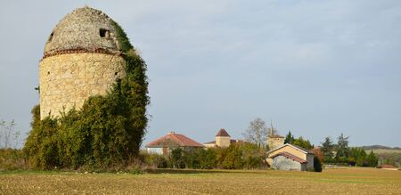 gascony: The ancient village Bazian is a typical castelnau preserved in the famous historical region Gascony. Stock Photo