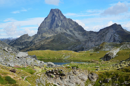 summit lake: The mountain lake Casterau is photographed against the famous summit du Midi d Stock Photo