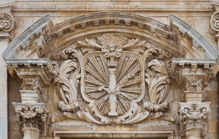 grecas: Detalles arquitect�nicos del antiguo edificio con greca Foto de archivo
