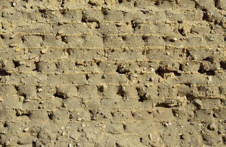 extant: Pared antigua construcci�n egipcia est� hecha de adobes. Ella