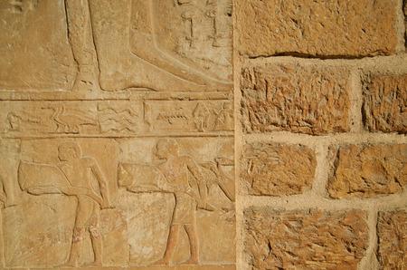 extant: La forma m�s com�n de fresco es la persistencia de las pinturas murales egipcias en tumbas de las superficies de yeso Saqqara necropolis.These en un estado duro y duradero en la actualidad. Foto de archivo