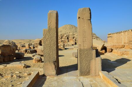 extant: An extant entrance of the ancient temple is situated in Saqqara necropolis, Giza, Egypt. Stock Photo