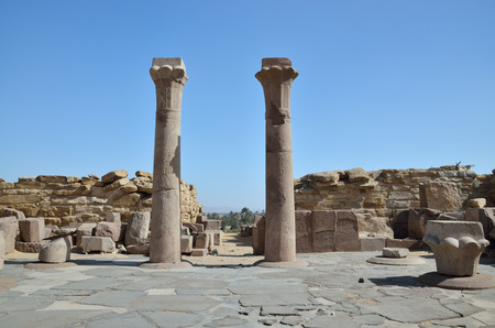 necropolis: The extant columns are in the courtyard before the Sahure pyramid ruined  in Saqqara necropolis. Stock Photo