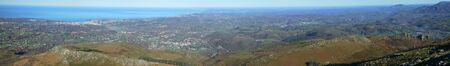 foothills: Atlantic coast is photographed from the mountain Larrun in the foothills of the Pyrenees.