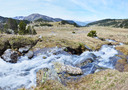 tourism in andorra: The upper part of the ValldeMadriuPerafitaClaror is a glacial landscape with hanging valley glacial streams and wet moorlands.