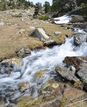 torrential: In the upper part of the ValldeMadriuPerafitaClaror there are the grassy slopes with the glacial springs and the snowfields.