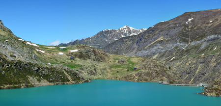 hydroelectricity: An artificial lake is formed with the Gloriettes dam on the Gave dEstaube river in the Haute Pyrenees. Stock Photo