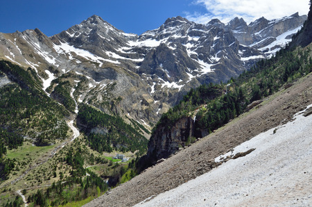 cirque: Spring mountains are photographed in the valley to the cirque of Gavarnie. This is a large rock amphitheater. Stock Photo