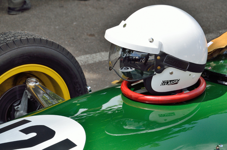 curio: The vintage bolide is photographed with the slam on the capote at racing Grand Prix Historique. Stock Photo