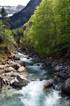 cirque: The mountain stream is rapidly flowing on the stone bed from the cirque of Gavarnie.