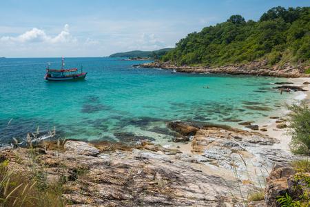 samet: Wild stone western coast of Ko Samet Island is photographed in the gulf of Thailand, Rayong. Stock Photo