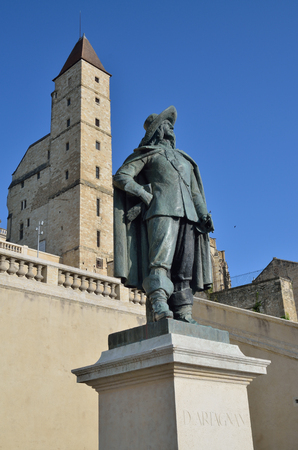 extant: Auch is known for its tower dArmagnac a 14th-century prison and statue of Charles de Batz famous musketeer dArtagnan. Stock Photo