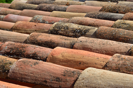 barrel tile: Traditional old tiled roof is made from locally available materials such as terracotta.