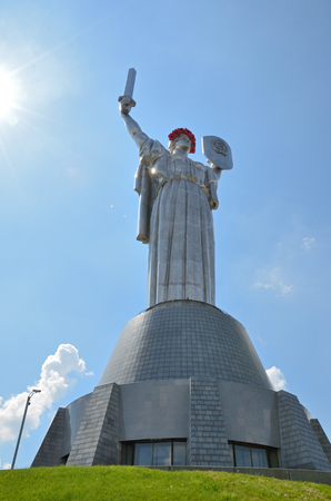 sorrowful: Monumental statue of the Mother Motherland is decorated with the sorrowful crown of the red poppies.