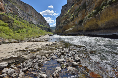 The deep gorge of Lumbier was created by the river Irati in the foothills of the Sierra de Leire. Stock Photo