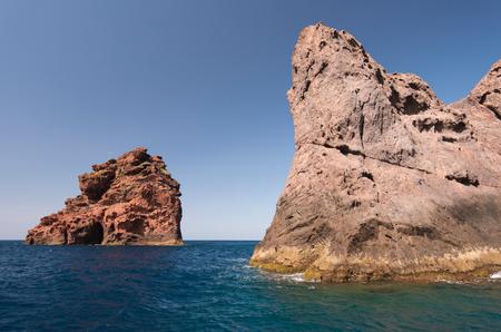 The rocky isles near the coast of the natural park Scandola