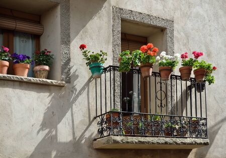 There are a row of the flowerpots with flowering plants of pelargonium in the balcony of the Spanish town. Stock Photo