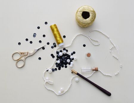 Equipment and supplies for bead embroidery or Luneville embroidery