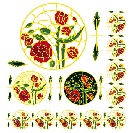 Floral decoration of poppies and leaves. Vector
