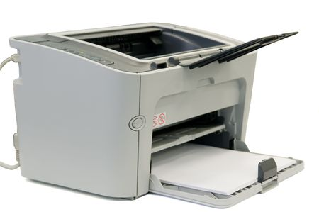 Office printer of grey colour on a white background