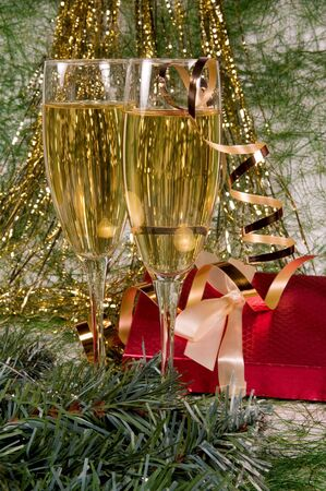 Christmas decoration,    champagne and red box photo