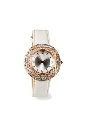 Womens watches with crystals isolated on a white background.