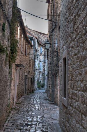 Ancient lane in Croatia, the city of Trogir photo