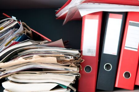 Messy case with a stack of documents Stock Photo - 6796616