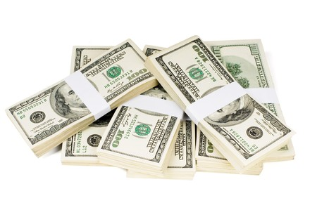 Huge stack of prop money. Bundled in $10000 dollar stacks. Isolated on white Stock Photo - 7682232