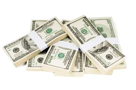 pile papier: ?orme pile d'argent prop. Livr?n piles dollar 10000 $. Isol?ur blanc