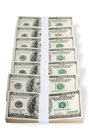 Huge stack of prop money. Bundled in $10000 dollar stacks. Isolated on white. Stock Photo - 7765845