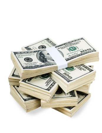 greenbacks: Huge stack of prop money. Bundled in $10000 dollar stacks. Isolated on black.