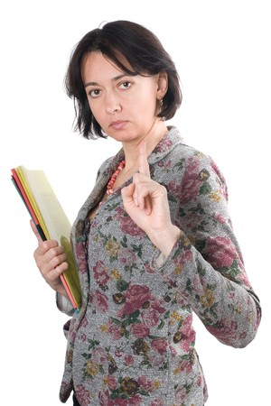 remark: The woman with documents does the remark