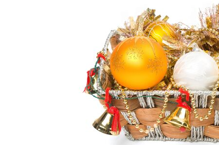 New Year's decoration in a wooden basket with hand bells Stock Photo - 8135550