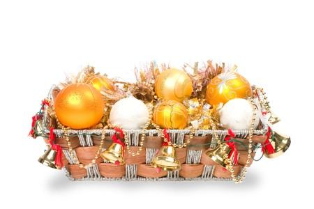 New Year's decoration in a wooden basket with hand bells Stock Photo - 8135548