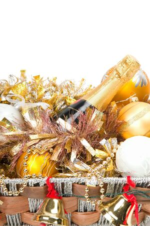 New Years decoration in a wooden basket with hand bells photo
