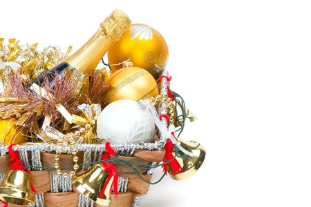 New Year's decoration in a wooden basket with hand bells Stock Photo - 8135563