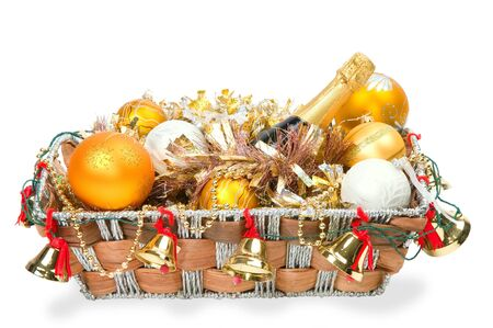 New Year's decoration in a wooden basket with hand bells Stock Photo - 8135565