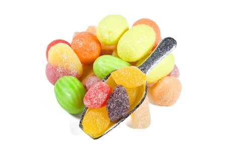 jellybean: Multi-colored sweets and chewing gums on white backgrounds