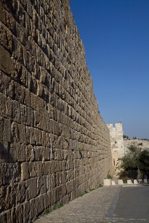 The city wall of old Jerusalem, Israel photo