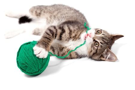 gomitoli di lana: Kitten suona fili, isolato su sfondo bianco