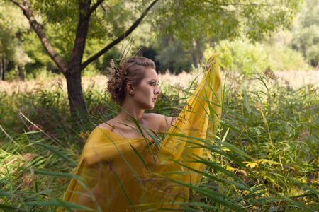 A beautiful woman with a transparent silk in the tall grass photo