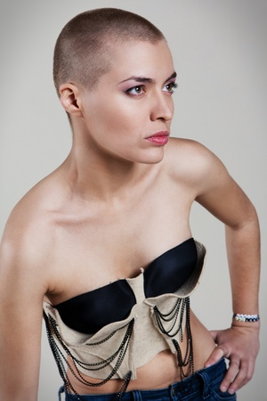 bald girl: Young, beautiful woman with extreme hairdo Stock Photo