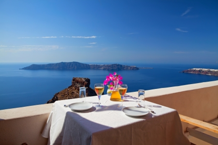 Table above sea for two  Greece, Santorini island