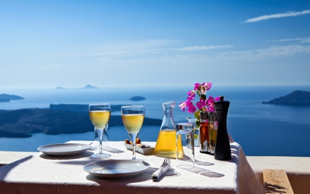 luxury restaurant: Table above sea for two  Greece, Santorini island