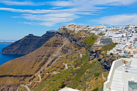 fira: Greece, Santorini, Fira town. Morning view of the building and the Bay.